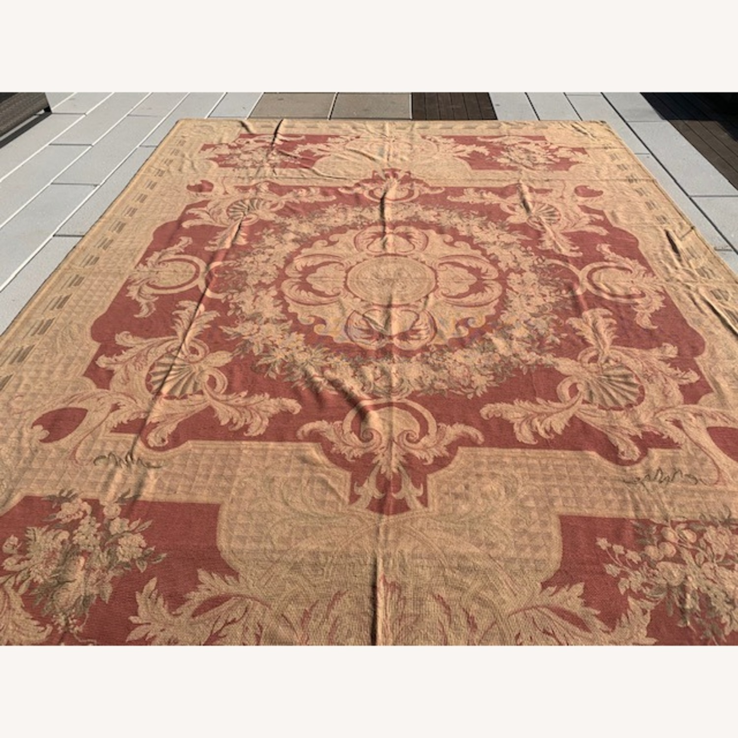 Vintage Aubusson flat weave Red and Tan rug - image-4