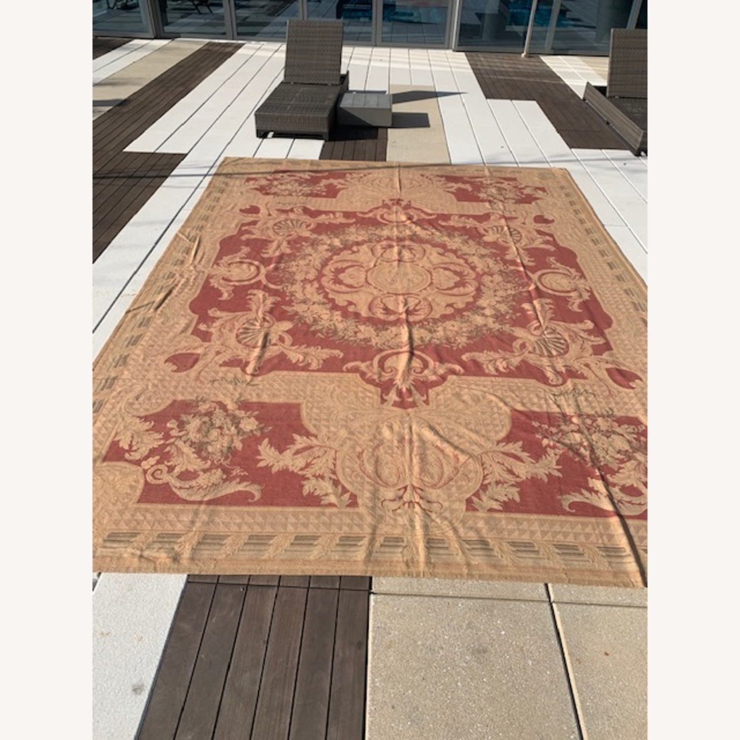 Vintage Aubusson flat weave Red and Tan rug - image-1