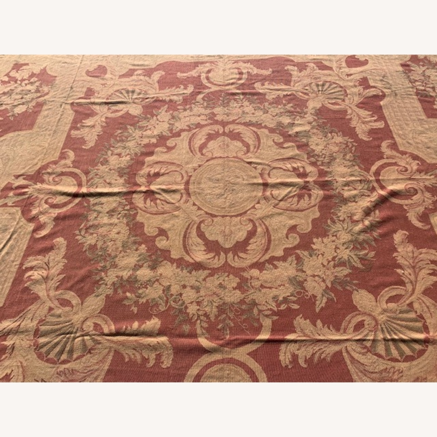 Vintage Aubusson flat weave Red and Tan rug - image-3