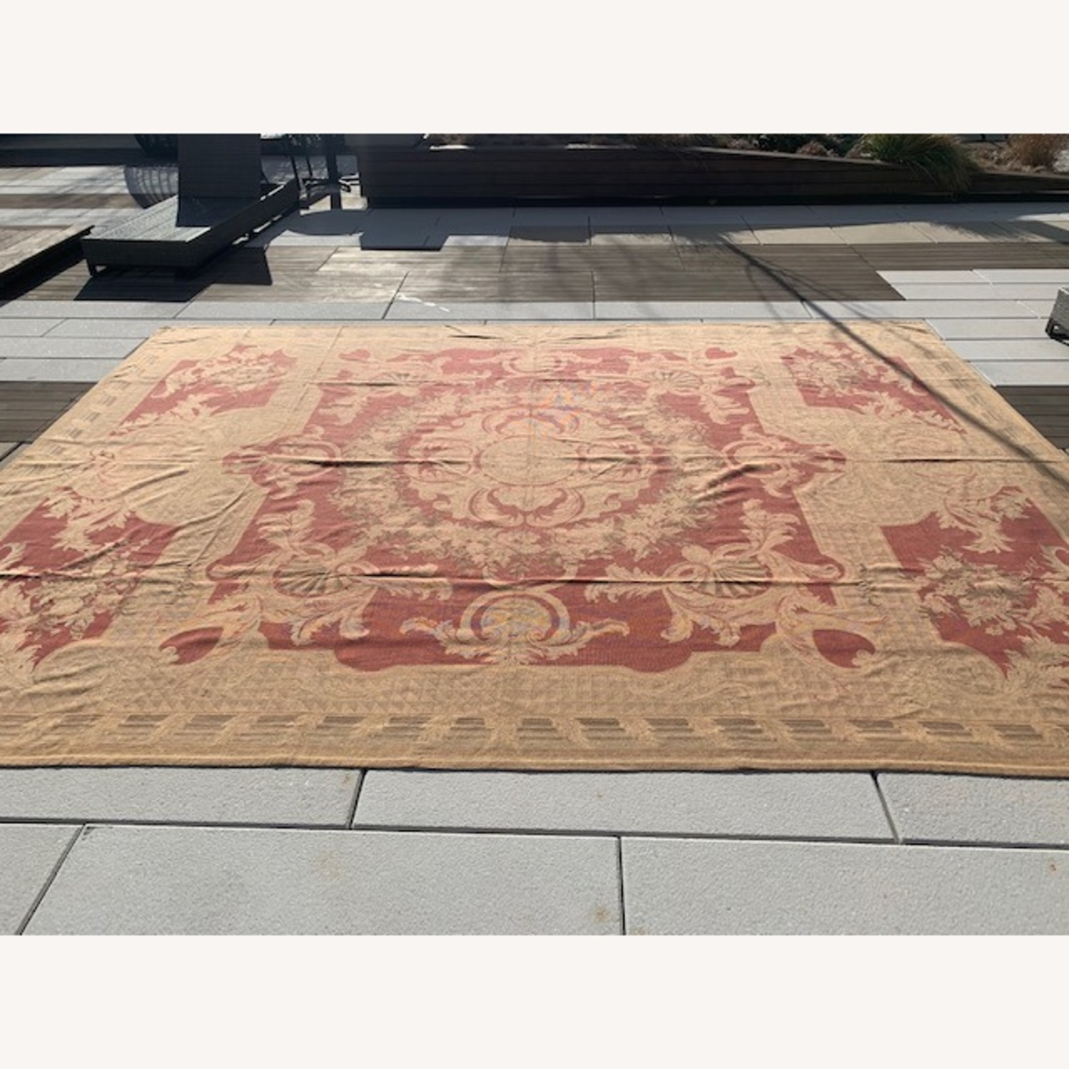 Vintage Aubusson flat weave Red and Tan rug - image-2