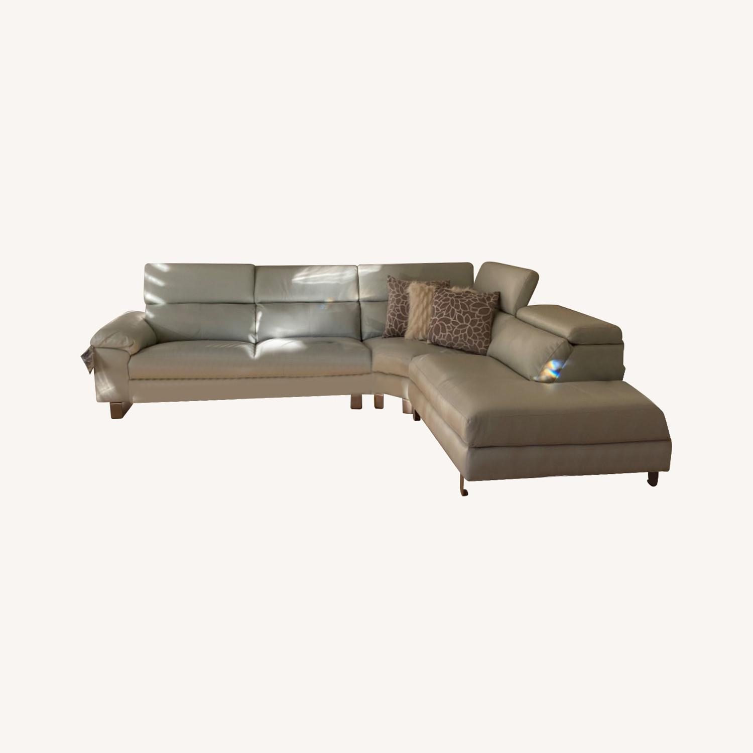 Leather Sectional Sofa Grey - image-0