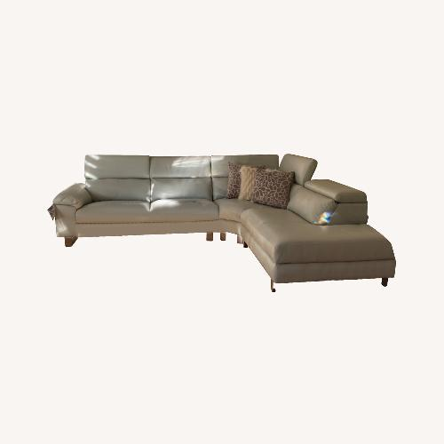 Used Leather Sectional Sofa Grey for sale on AptDeco