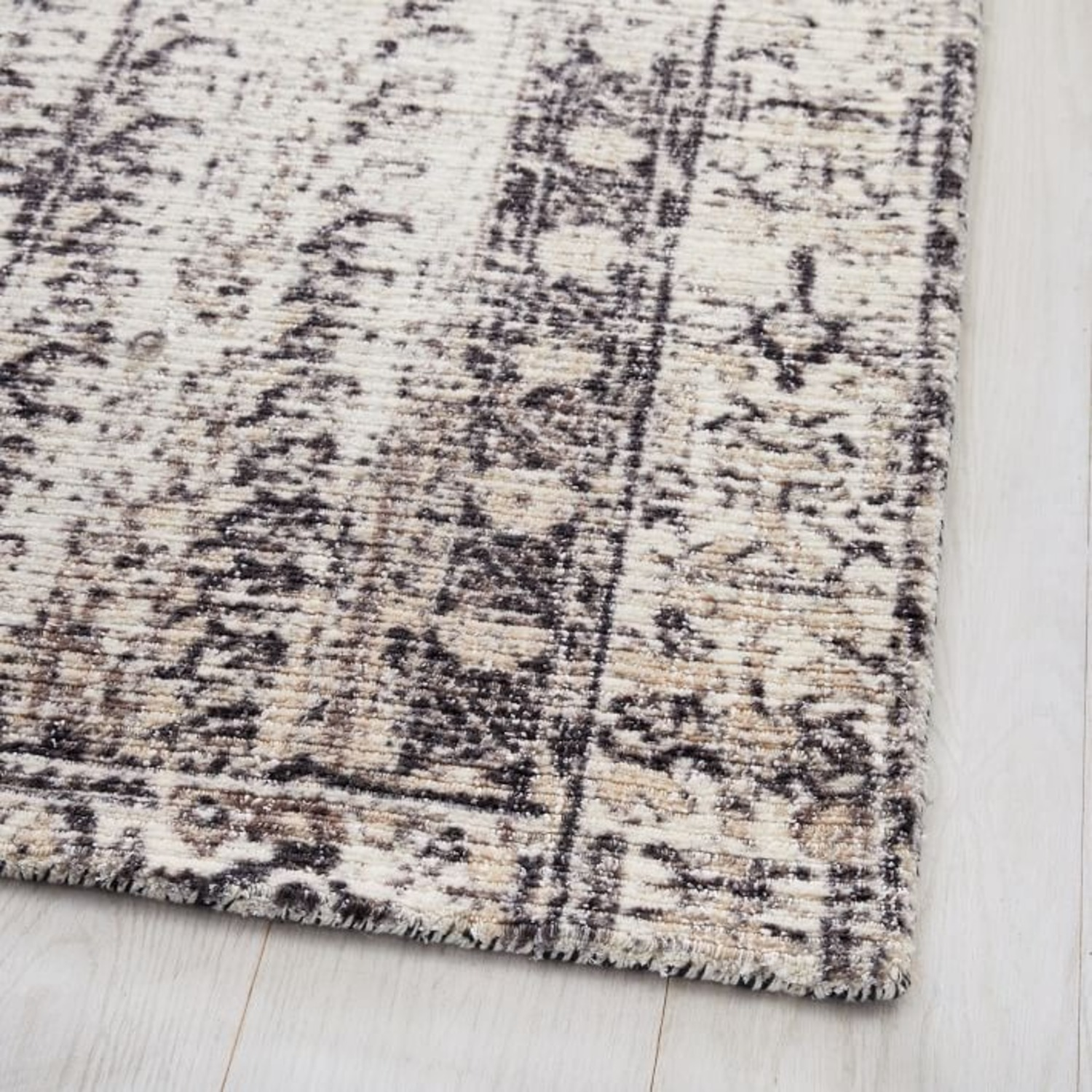West Elm Distressed Ensi Rug, Stone White - image-1