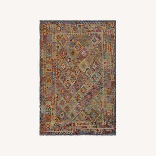 """Used Arshs' Fine Rugs Retro Vintage Kilim Wool Rug - 6'7"""" x 9'11"""" for sale on AptDeco"""