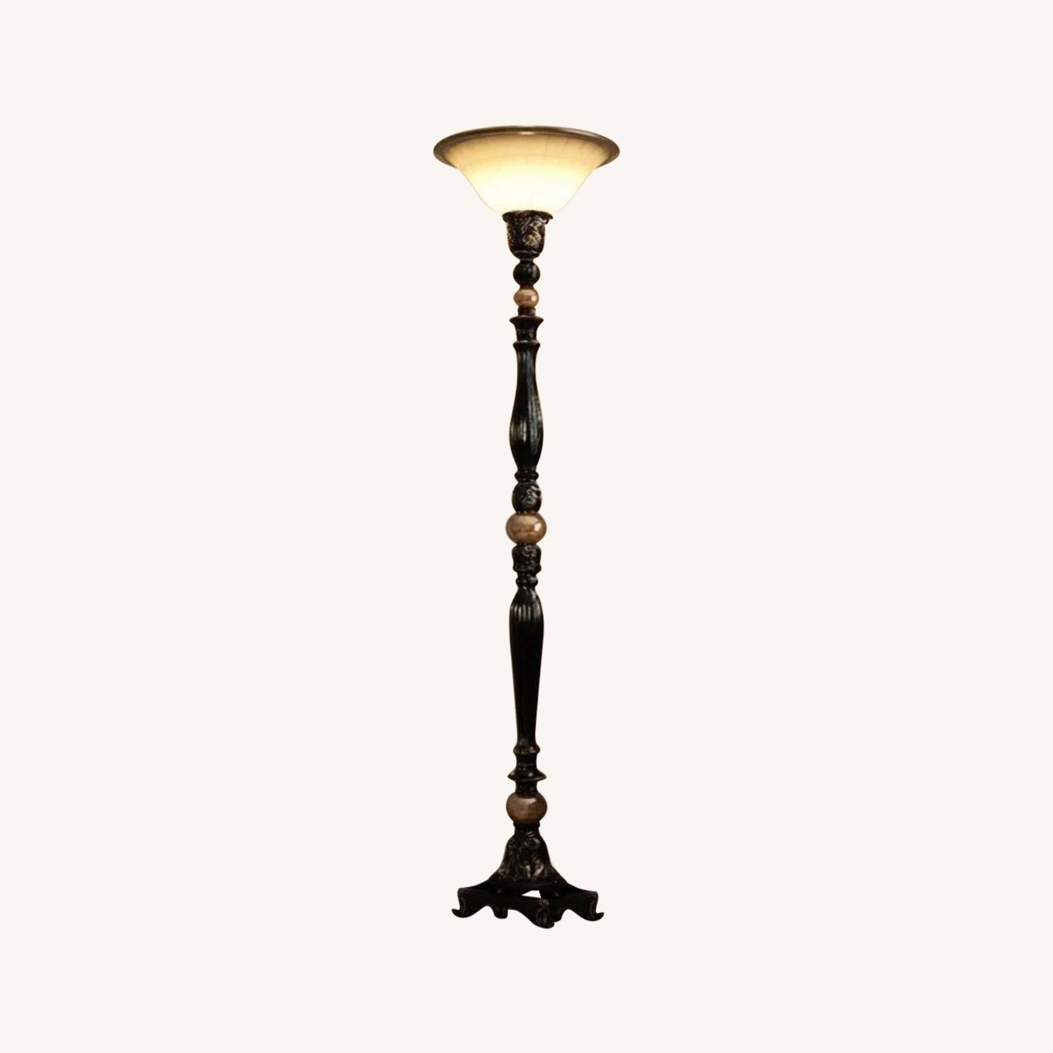 ABC Home Luxury Bronze Torchiere/Marble Accent - image-0
