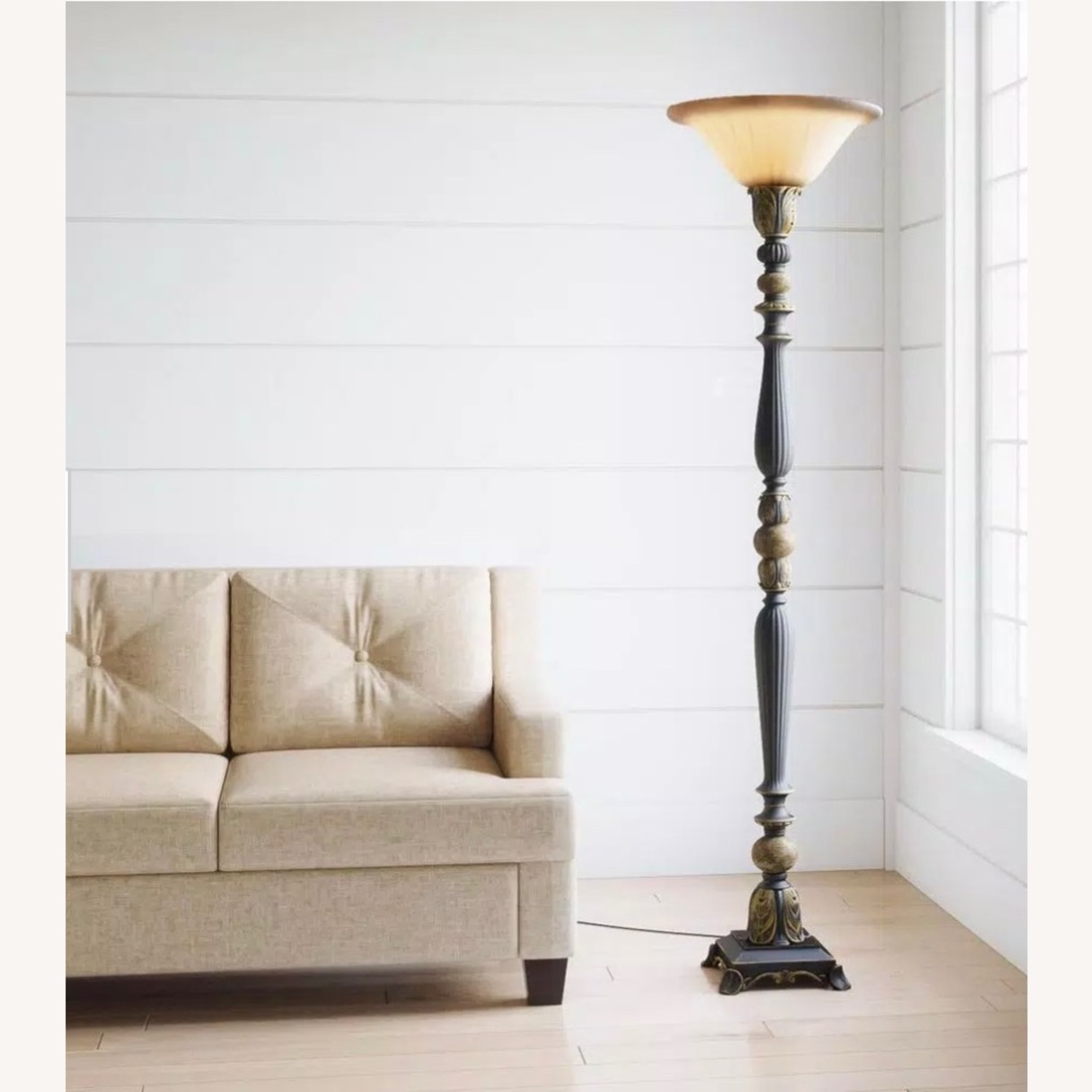 ABC Home Luxury Bronze Torchiere/Marble Accent - image-2