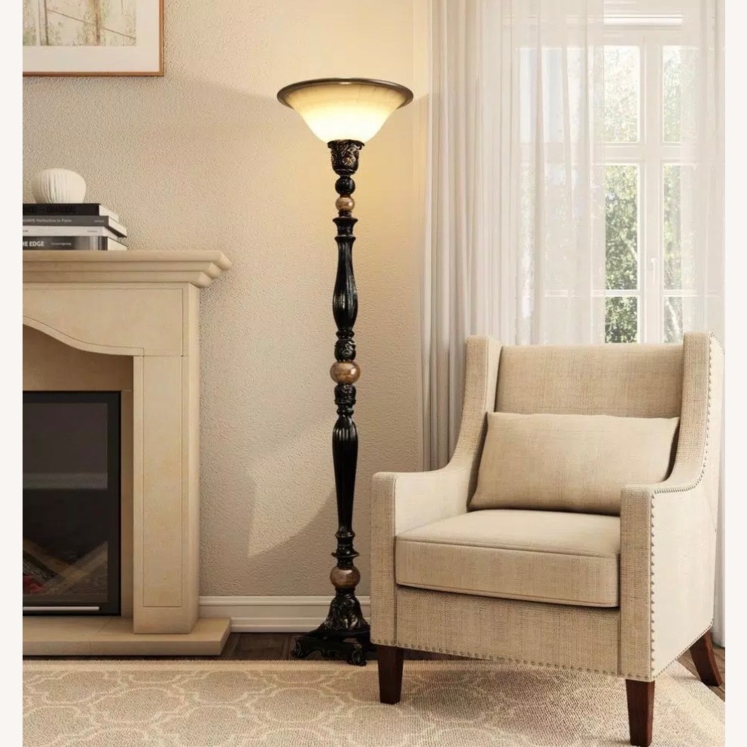 ABC Home Luxury Bronze Torchiere/Marble Accent - image-1