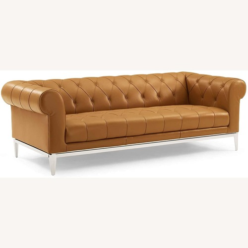 Used Sofa In Tan Leather Chesterfield W/ Tufted Buttons for sale on AptDeco
