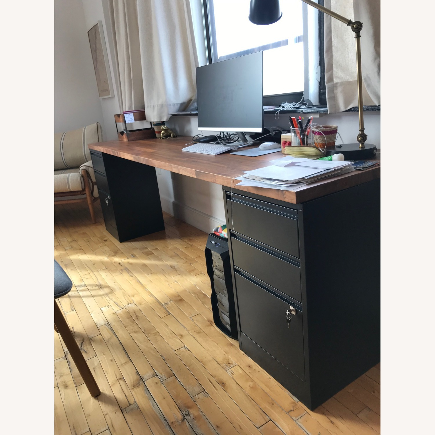 Long Wood Desk Top with 2 Filing Cabinets - image-4