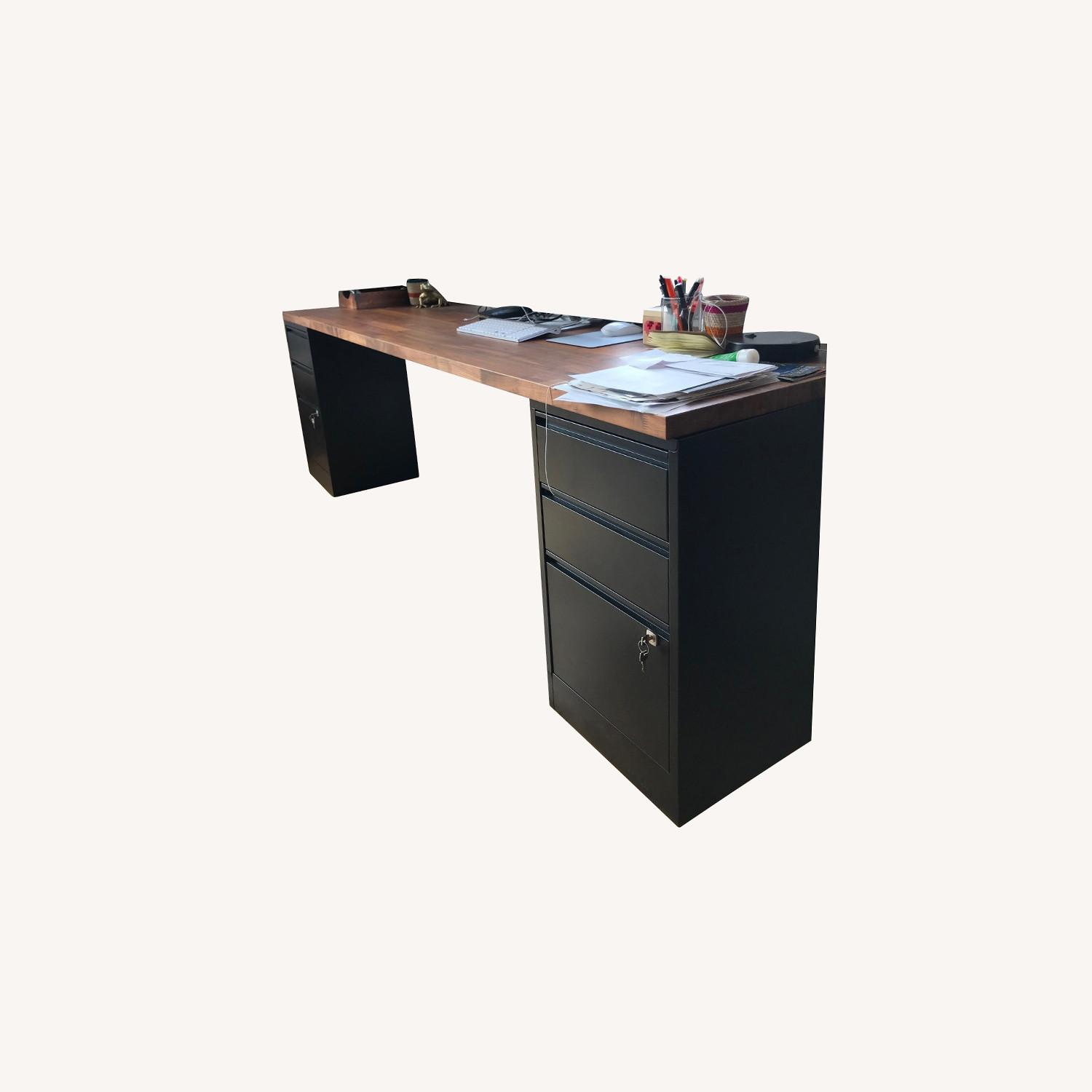 Long Wood Desk Top with 2 Filing Cabinets - image-0