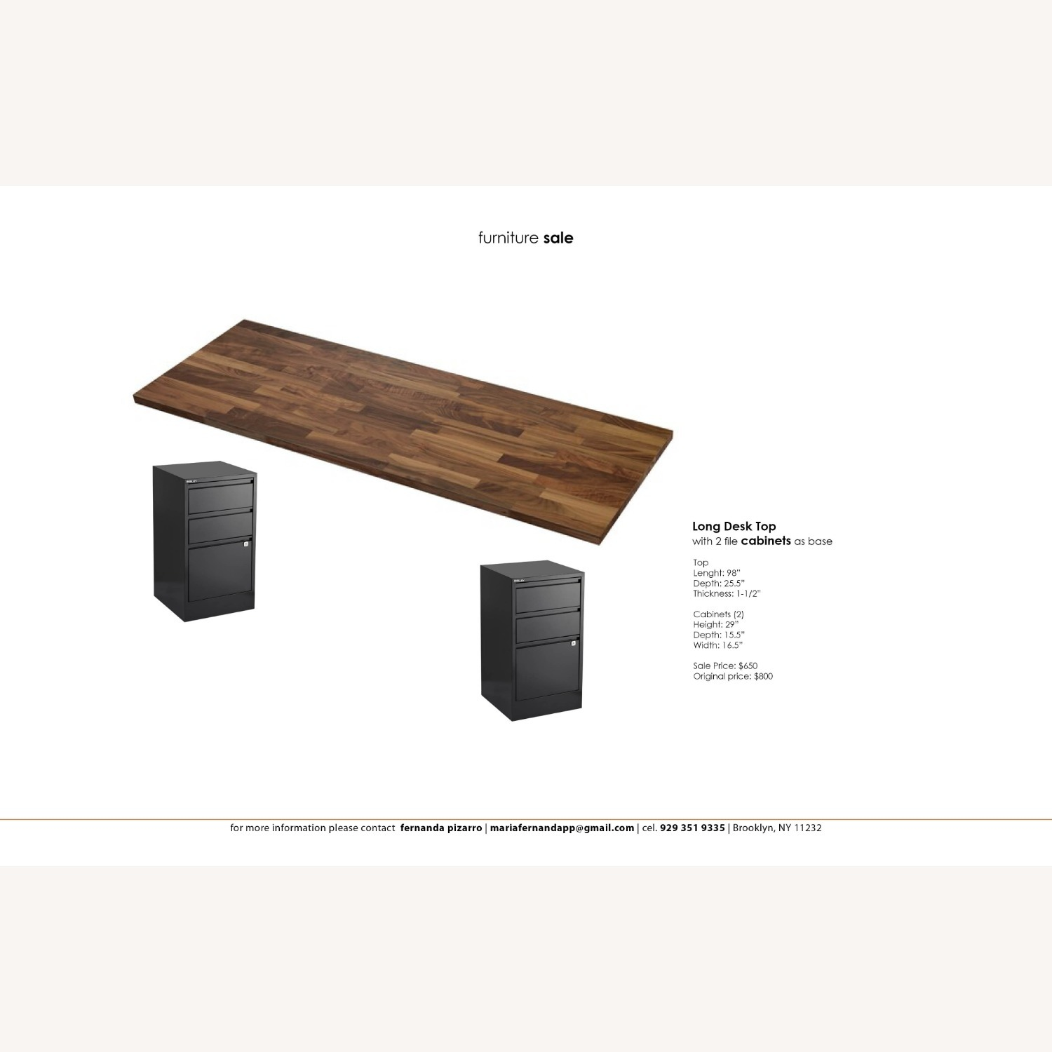 Long Wood Desk Top with 2 Filing Cabinets - image-1