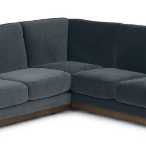 Used Article Ceni Deep Sea Blue Velvet Corner Sectional for sale on AptDeco
