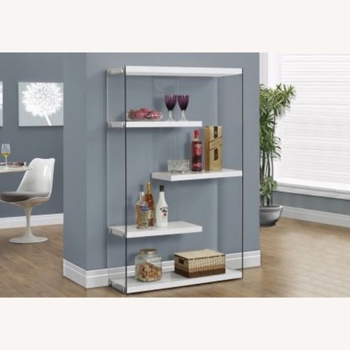 Used Modern Chic Floating Shelves - White & Glass for sale on AptDeco