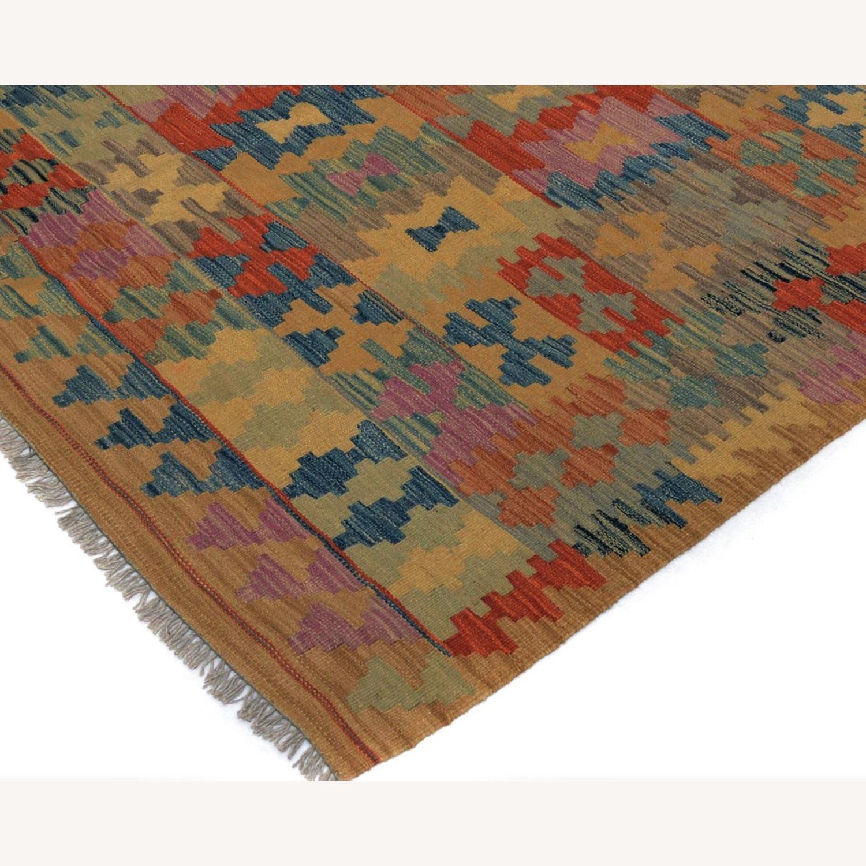 "Arshs' Fine Rustic Marlon Tan Wool Kilim Rug - 5'0"" x 6'6"" - image-3"