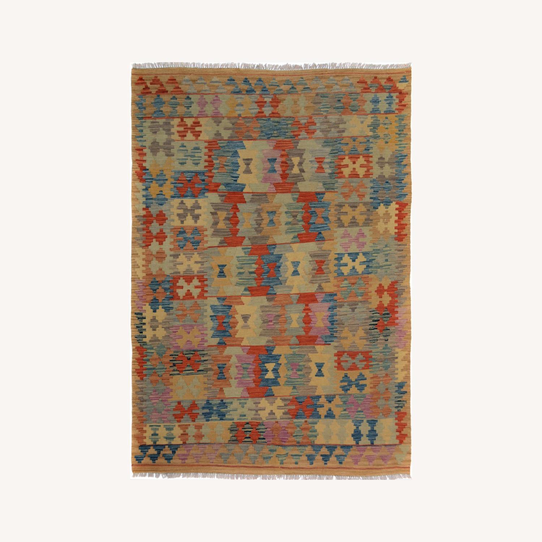 "Arshs' Fine Rustic Marlon Tan Wool Kilim Rug - 5'0"" x 6'6"" - image-0"