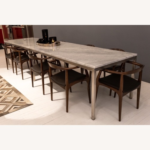 Used Room & Board Marbled White Quartz Dining Table for sale on AptDeco