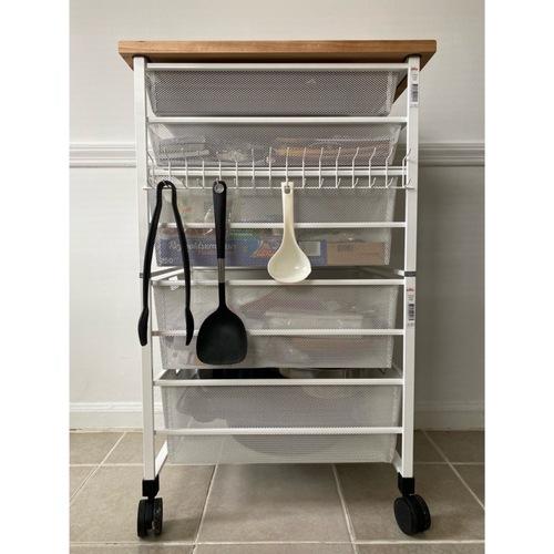 Used Elfa White-mesh Kitchen Cart for sale on AptDeco