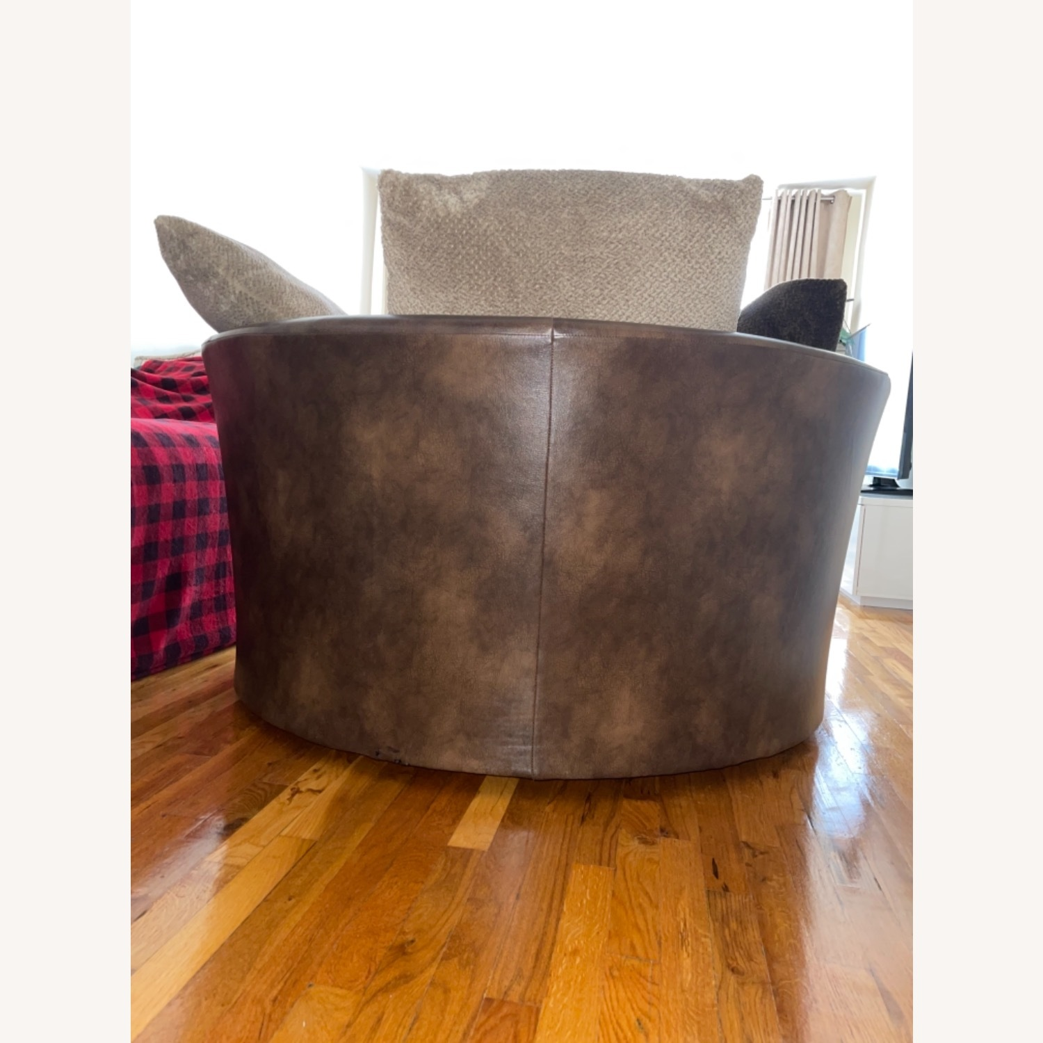 Two-tone Brown Swivel Chair - image-4