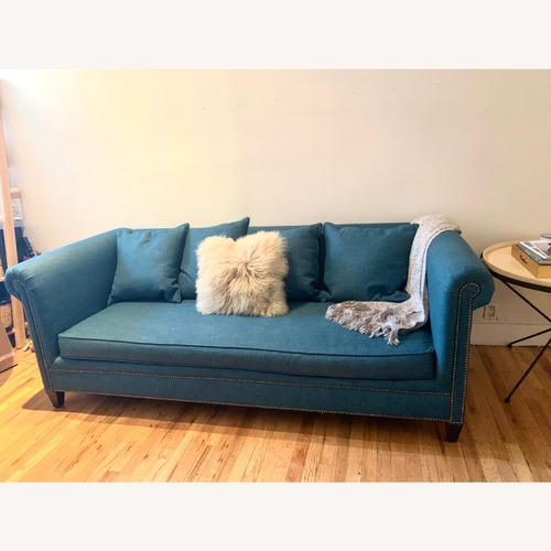Used Crate and Barrel Blue Green Tailor Sofa for sale on AptDeco