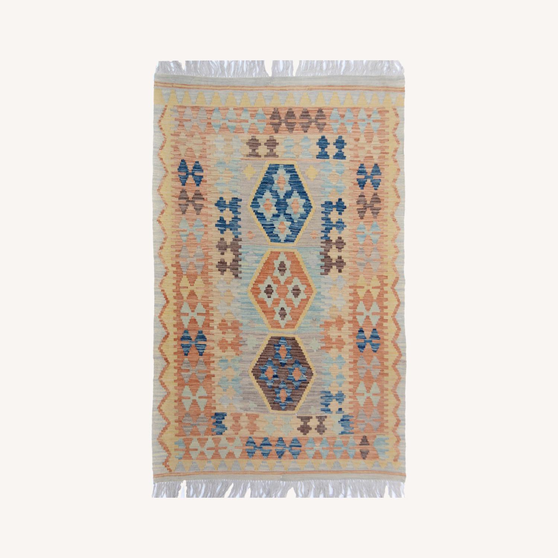 """Tribal Kilim Gray Blue Wool Rug - 3'4"""" x 5'5"""" - image-0"""