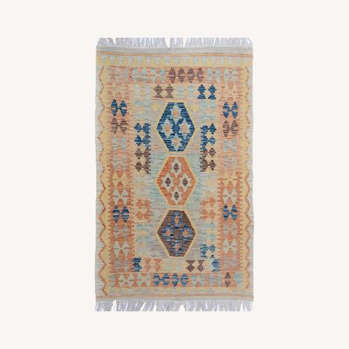 "Used Tribal Kilim Gray Blue Wool Rug - 3'4"" x 5'5"" for sale on AptDeco"
