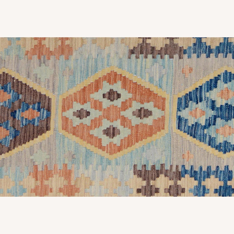 """Tribal Kilim Gray Blue Wool Rug - 3'4"""" x 5'5"""" - image-4"""