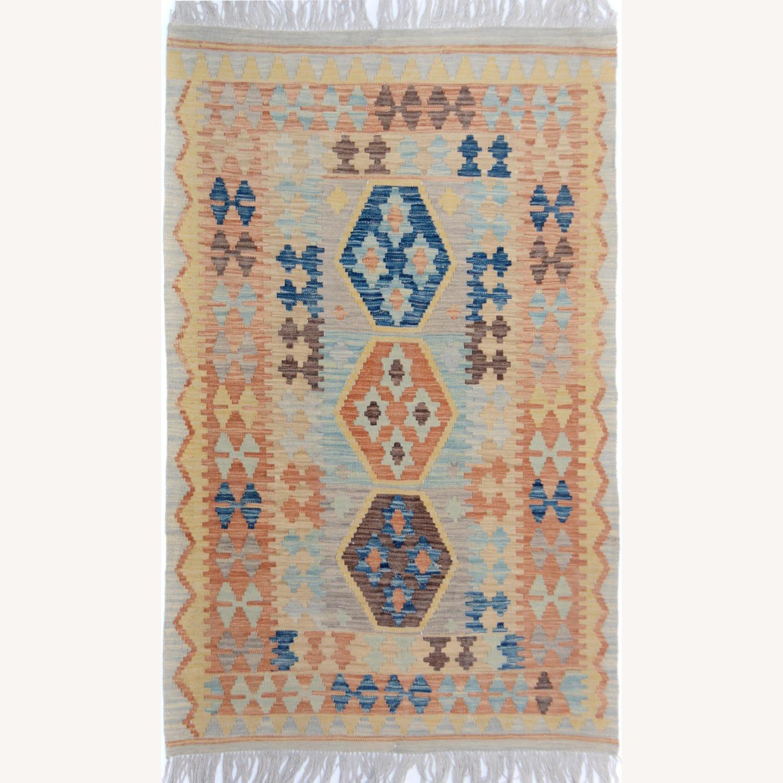 """Tribal Kilim Gray Blue Wool Rug - 3'4"""" x 5'5"""" - image-1"""