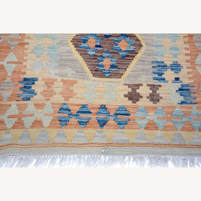 """Tribal Kilim Gray Blue Wool Rug - 3'4"""" x 5'5"""" - image-6"""
