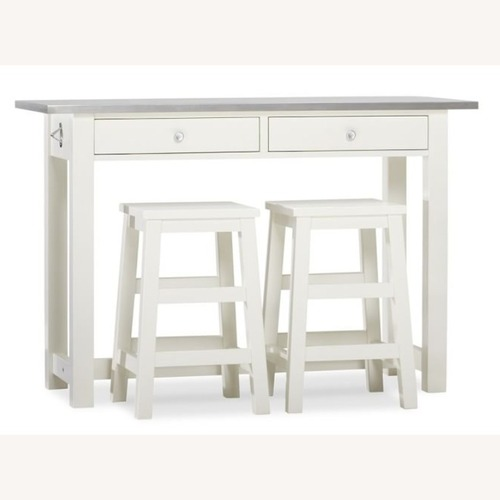 Used Pottery Barn Kitchen Island with 2 Stools for sale on AptDeco