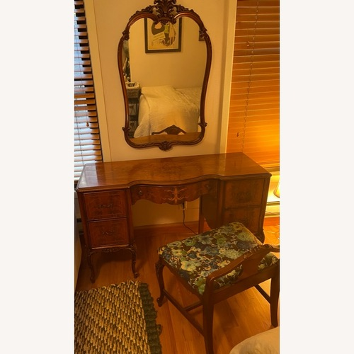 Used Vintage/Antique Wood Vanity with Mirror & Bench for sale on AptDeco