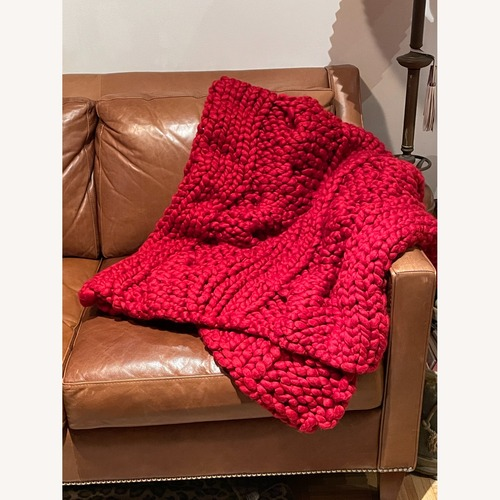 Used Crate & Barrel Red Chunky Cable Knit Throw for sale on AptDeco