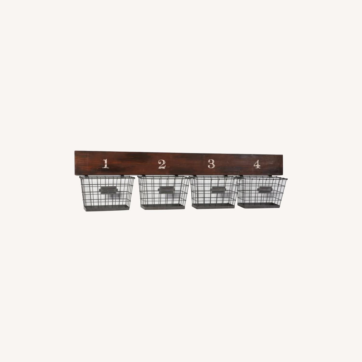 Pottery Barn Wood And Wire Wall Multi Basket - image-0