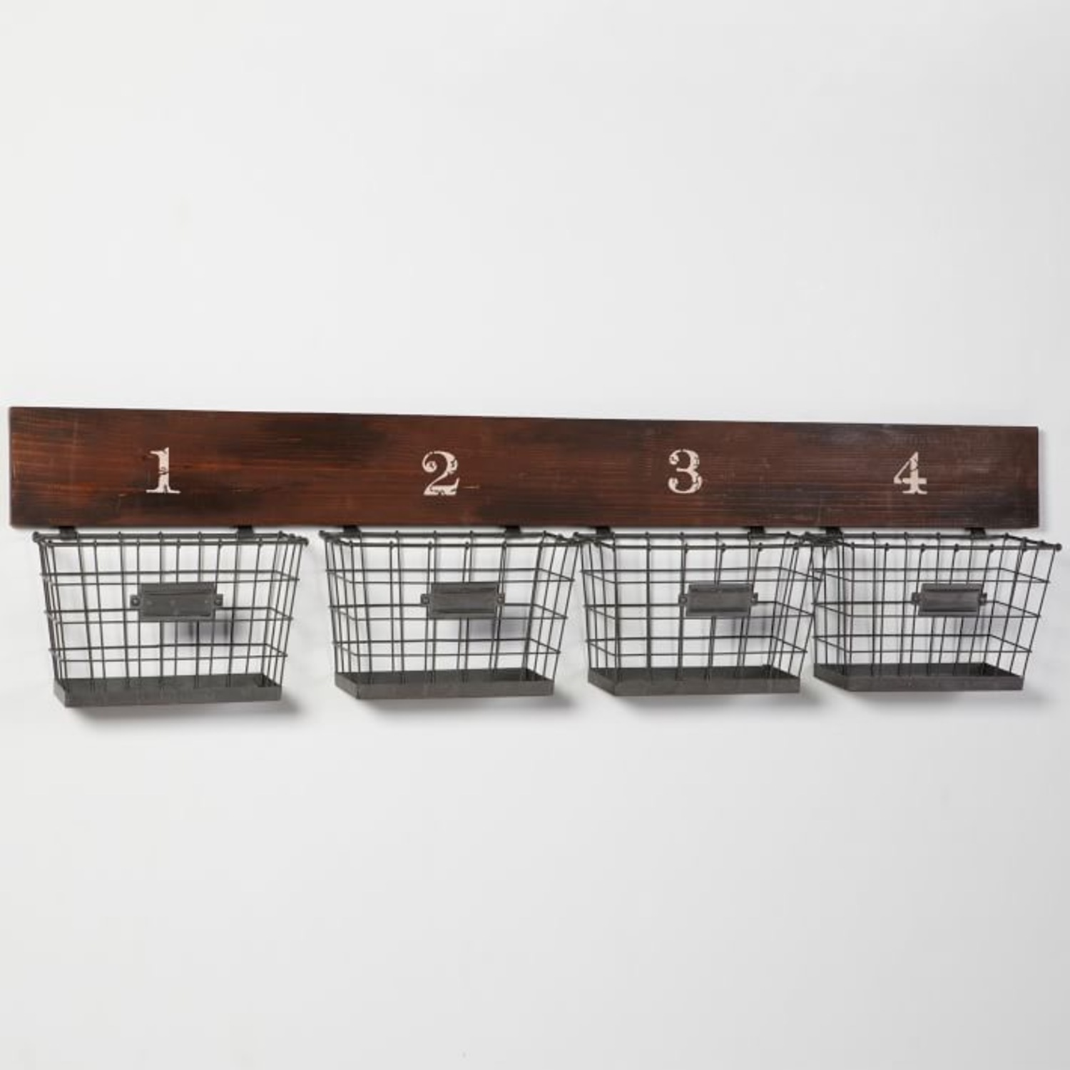 Pottery Barn Wood And Wire Wall Multi Basket - image-2