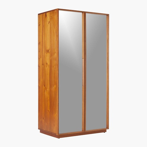 Used CB2 Mirrored Walnut Wardrobe for sale on AptDeco