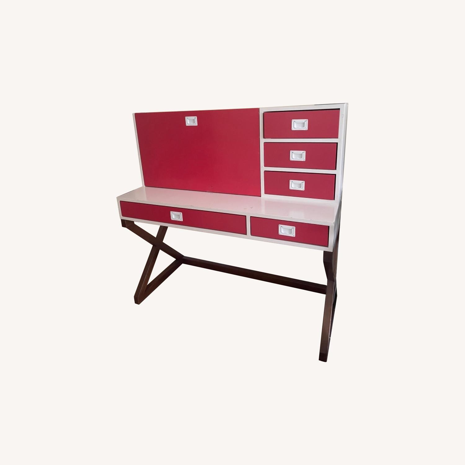 DucDuc Red and White Desk with Walnut Finish - image-0