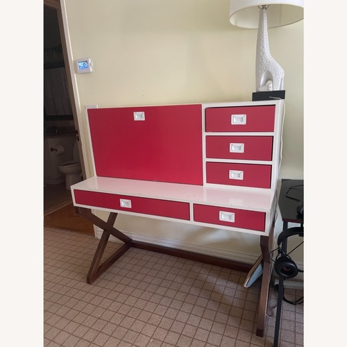 Used DucDuc Red and White Desk with Walnut Finish for sale on AptDeco