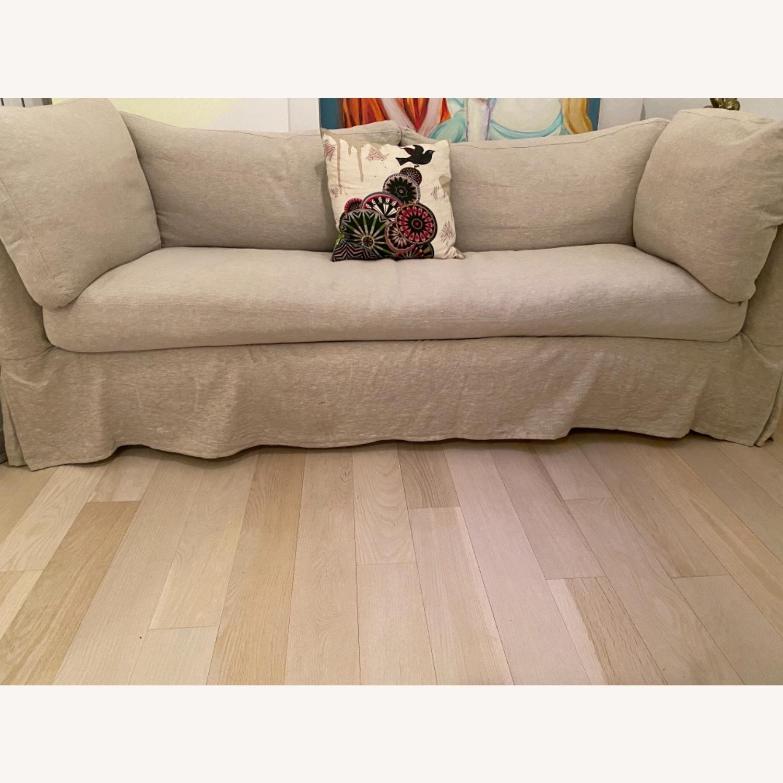ABC Carpet and Home White Linen Sleeper Sofa - image-2