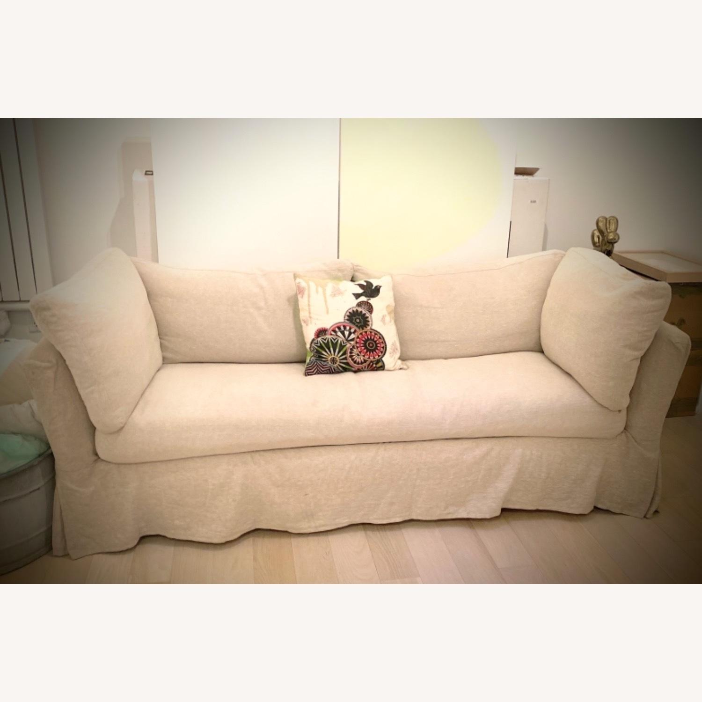 ABC Carpet and Home White Linen Sleeper Sofa - image-1