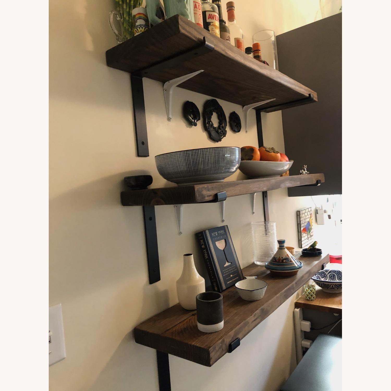 Custom Built Wood Shelves with Cast Iron Brackets - image-3
