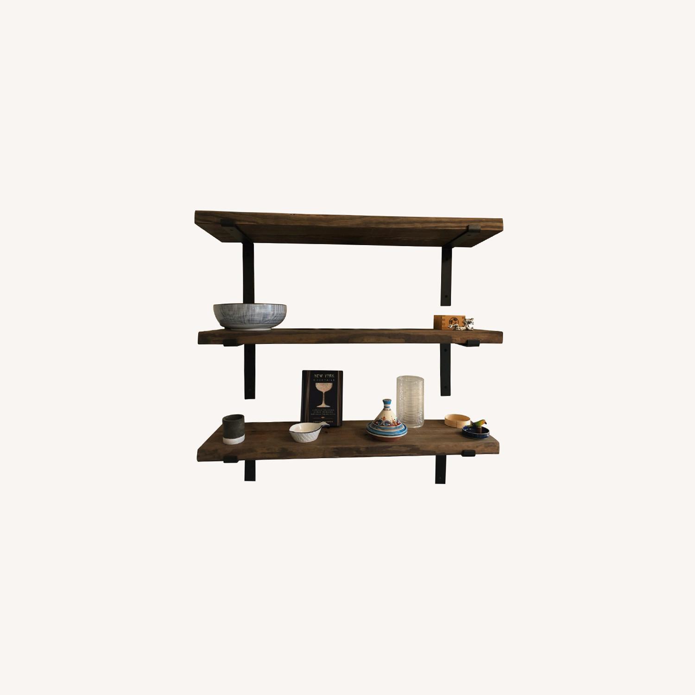 Custom Built Wood Shelves with Cast Iron Brackets - image-0