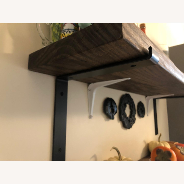 Custom Built Wood Shelves with Cast Iron Brackets - image-2