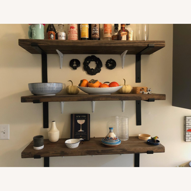 Custom Built Wood Shelves with Cast Iron Brackets - image-1