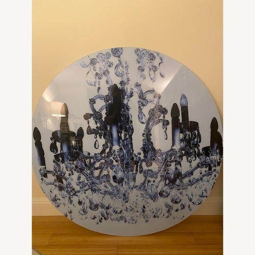 Used Art Design Round Art Piece - Chandelier Photograph Wall Art for sale on AptDeco