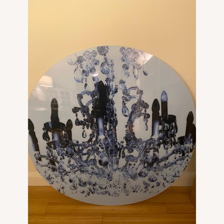 Art Design Round Art Piece - Chandelier Photograph Wall Art - image-2