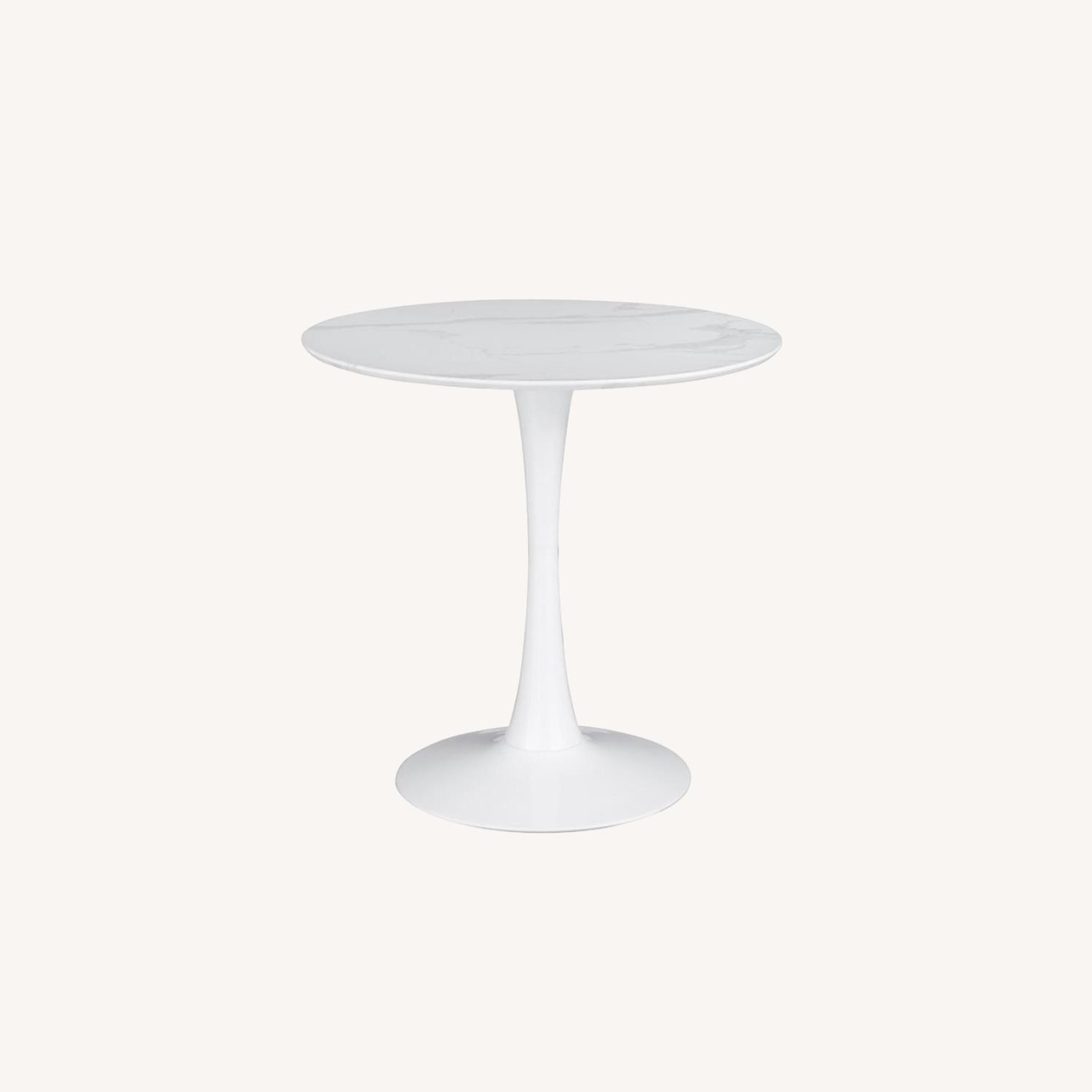 Round Dining Table In White Faux Marble Top - image-4