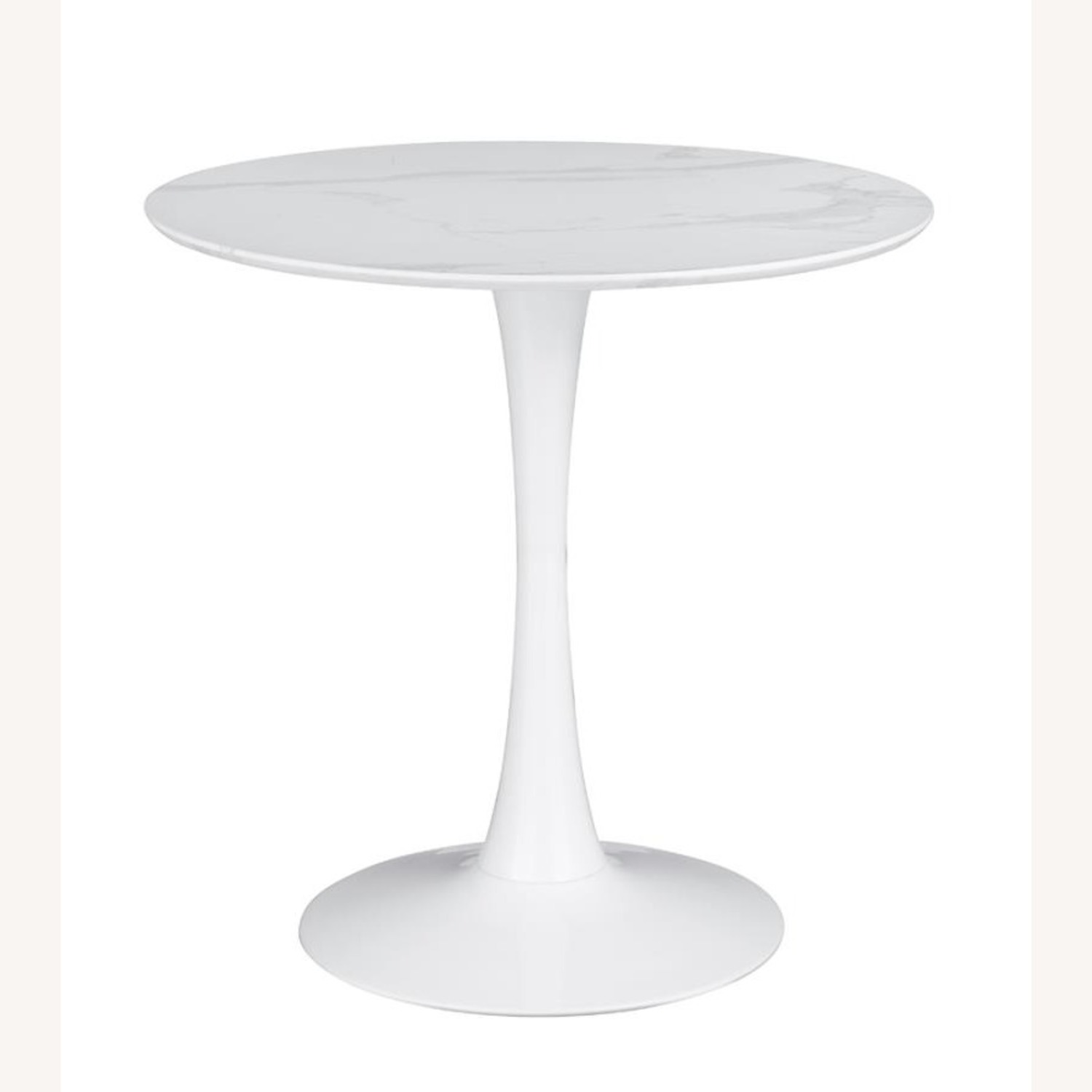 Round Dining Table In White Faux Marble Top - image-0