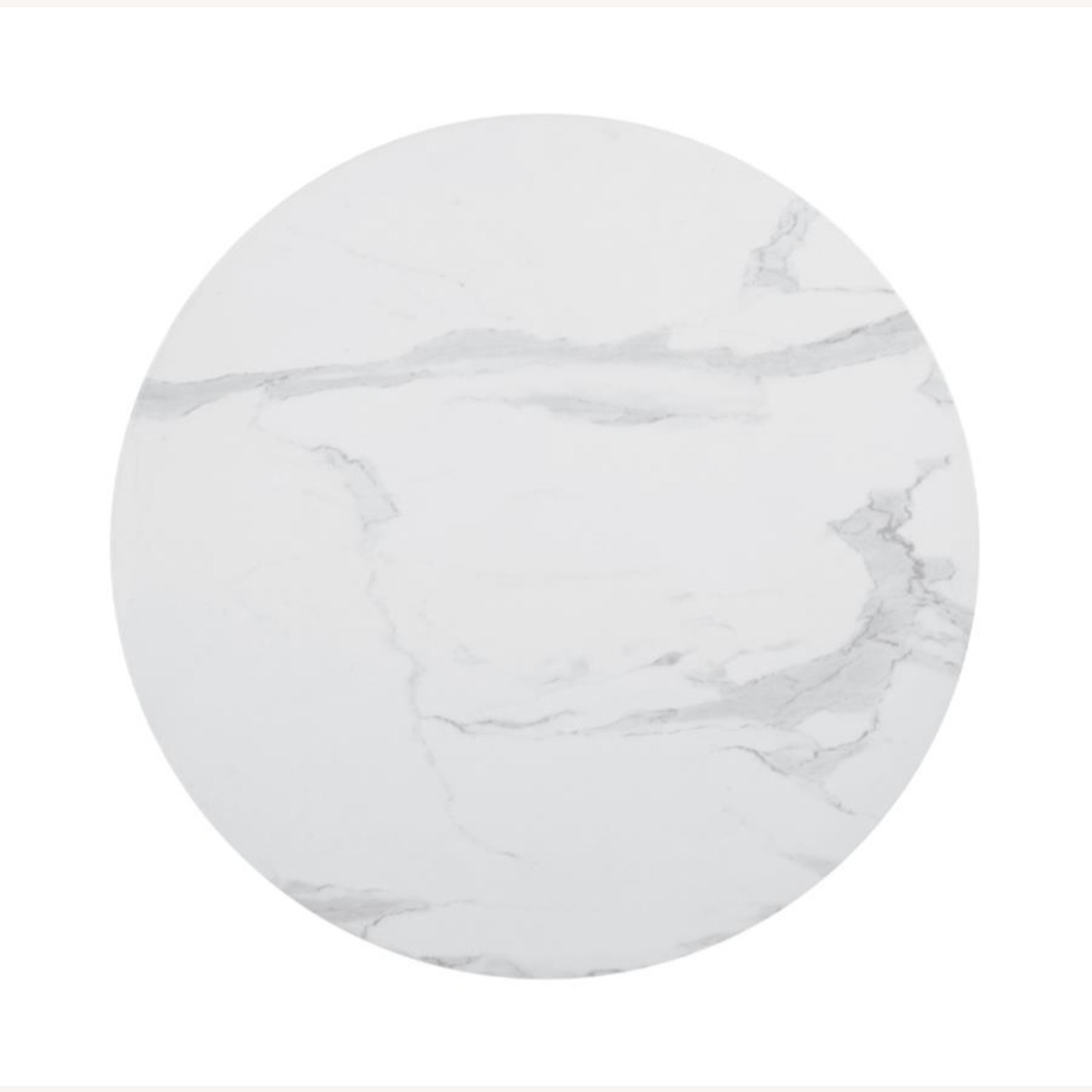 Round Dining Table In White Faux Marble Top - image-1