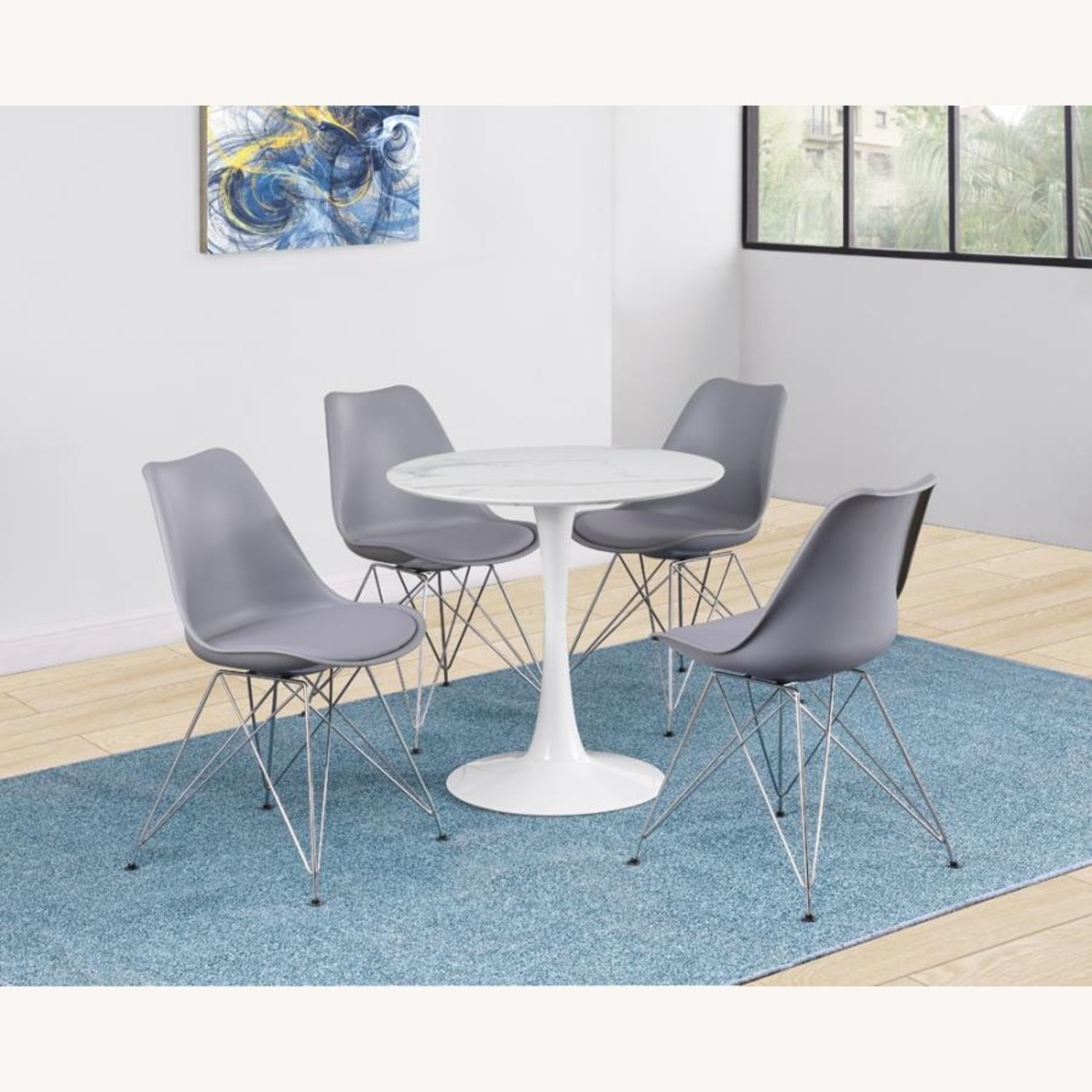 Round Dining Table In White Faux Marble Top - image-2