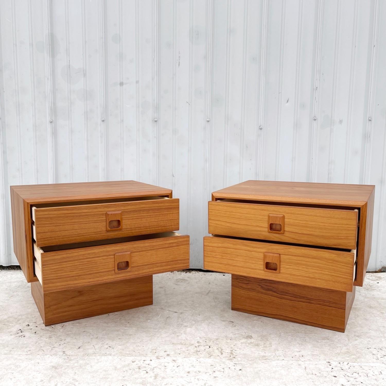 Vintage Modern Teak Nightstands- a Pair - image-1