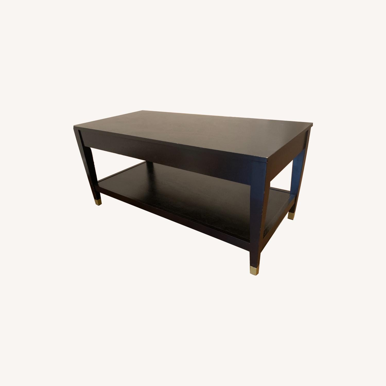 Black Coffee Table with Brass Tipped Legs - image-0